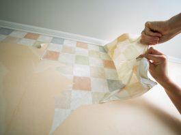 Closeup of wallpaper removal