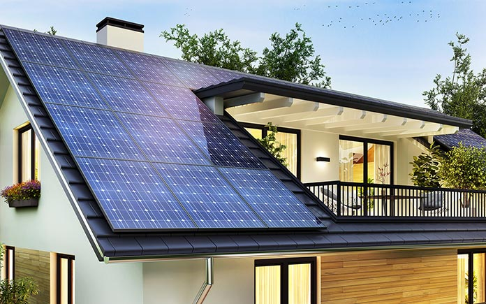 Solar panels on two-story home