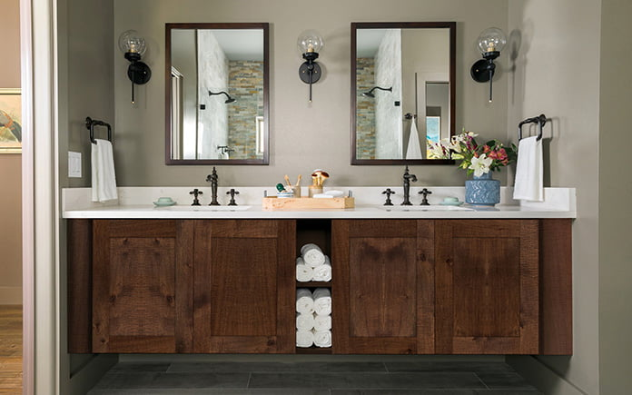 Bathroom vanity featuring shaker cabinets from Cabinets To Go's Spring hill Hickory collection.