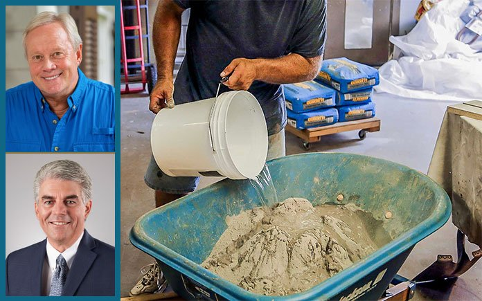 Image featuring Danny Lipford, host of Today's Homeowner, and Frank Owens, vice president of marketing at Quikrete; their portraits are superimposed with a graphic of a man pouring concrete mix into a wheelbarrow