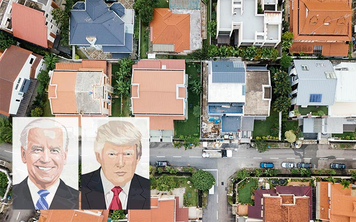 Donald Trump and Joe Biden images on top of an overhead view of neighborhood roofs