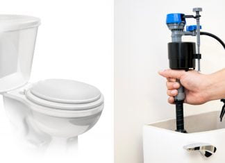 Split screen of a toilet and a woman installing a new Fluidmaster fill valve