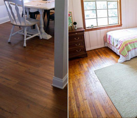 Split screen of luxury vinyl plank flooring, on the left, and solid hardwood floors, on the right