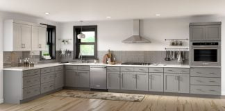 View of modern kitchen, featuring Worthington grey shaker cabinets from Cabinets To Go