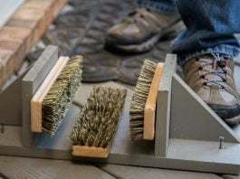 Joe Truini displays a DIY shoe cleaner made from a scrub brush during Today's Homeowner's Simple Solutions segment
