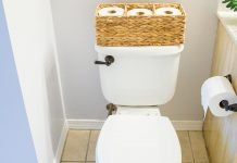 Toilet with basket of toilet paper on the tank