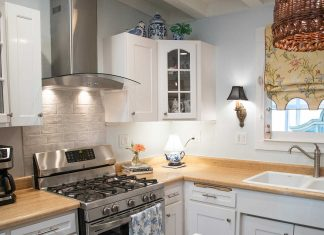 Chimney-style range hood in a modern California kitchen