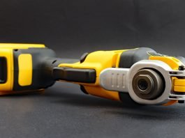 DeWalt cordless drill with a brushless motor, pictured lying on its side