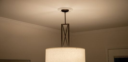 Mid-century modern light fixture with a ceiling medallion