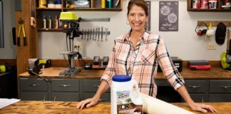 Jodi Marks, with Green Gobbler drain and pipe cleaner, in Today's Homeowner's Best New Products segment