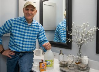 In a Simple Solutions segment of Today's Homeowner, Joe Truini demonstrates how pouring baking soda and vinegar down a sink can deodorize it and keep it clean.