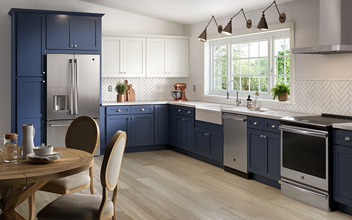 Cabinets To Go's Annapolis Blue Shaker Collection, as seen in a kitchen showroom in 2021.