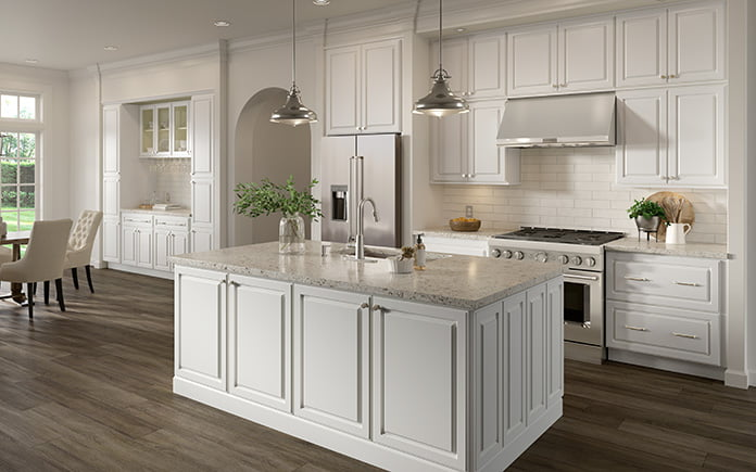 Cabinets To Go's Chalet White Collection, as seen in a kitchen showroom in 2021.