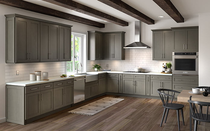 Cabinets To Go's Hampton Pewter Collection, as seen in a kitchen showroom in 2021.