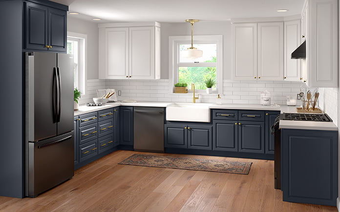 Cabinets To Go's Newport Blue Raised Panel Collection, as seen in a kitchen showroom in 2021.