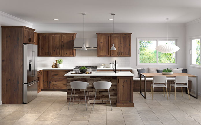Cabinets To Go's Spring Hill Hickory Collection, as seen in a kitchen showroom in 2021.
