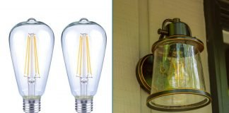 Eco Smart's Antique Edison LED Bulb, as seen in a product photo, at left, and inside an exterior light fixture, at right.