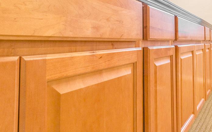 Kitchen cabinets with shiny varnish