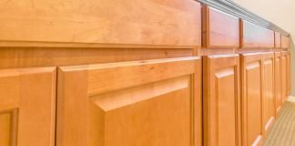 Kitchen cabinets with shiny varnish