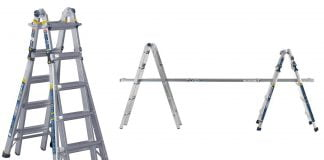 Werner Ladders' 5-in-1 Multiposition Ladder, seen as a step ladder and as two self-supporting scaffolding braces
