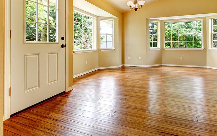 Shiny wood floor in an empty room
