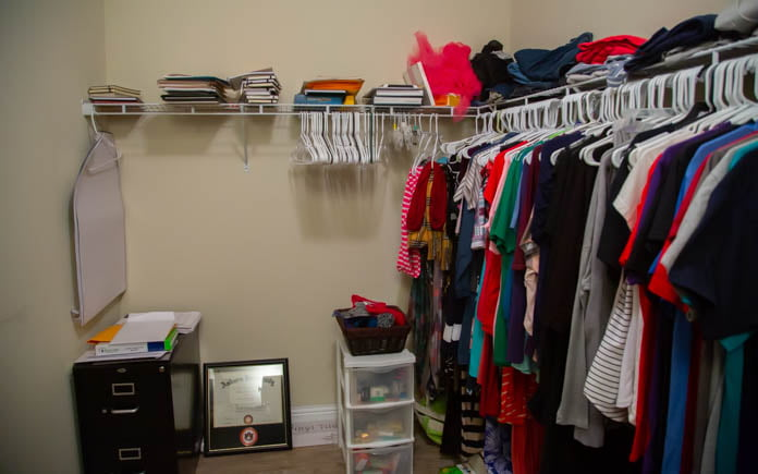 Before image of the closet/office