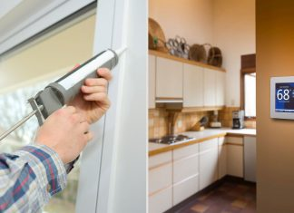 Split screen of a man caulking the gaps outside of a window frame, at left, and view of a kitchen with a thermostat set to 68 degrees.