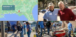 """Split screen with """"Today's Homeowner"""" host Danny Lipford laughing with friend Mickey Gilmore, a map of Marianna Florida, and volunteers building a pocket park in the downtown district"""