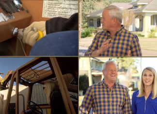 """""""Today's Homeowner"""" host Danny Lipford hears a noise and it's Chelsea cranking up the telehandler while building a pocket park in Marianna, Florida"""