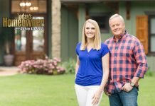 """""""Today's Homeowner"""" hosts Danny Lipford and Chelsea Lipford Wolf, standing in front of a house"""