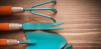 Designer gardening tools with turquoise blades