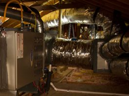 HVAC ductwork in an attic