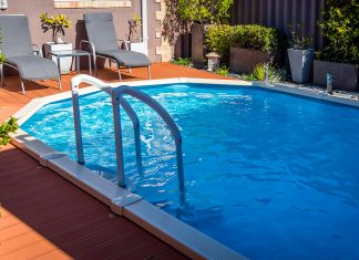 Above ground pool, seen with composite decking