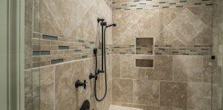 Stand-up, tile shower