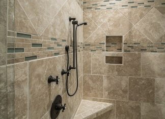 Stand-up, tile shower