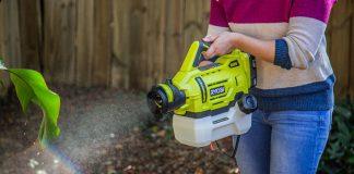 Ryobi Electrostatic garden sprayer is used to spray a plant in a backyard