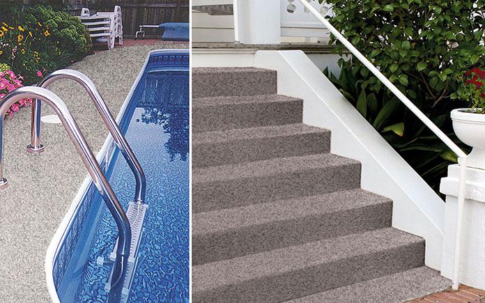 Terrazzo dekoratív gránit bevonat, látható a medence körül, balra és egy szabadtéri lépcsőn.