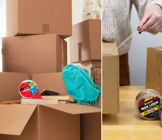 Scotch moving boxes and packaging tape