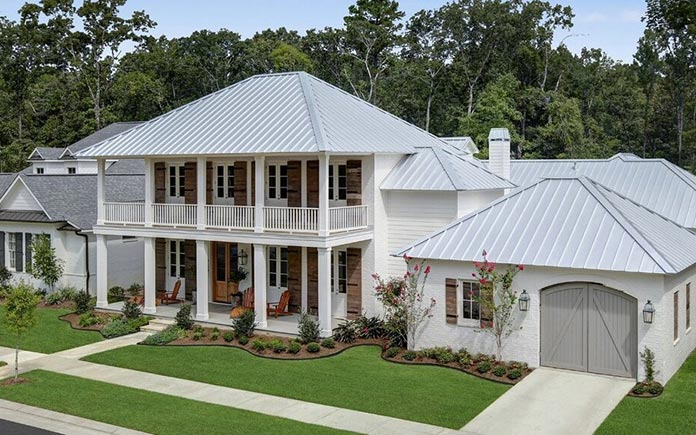 Metal roof, as seen on a beautiful two-story home
