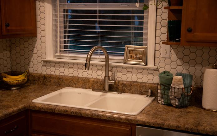Kitchen backsplash in first time homeowner's home