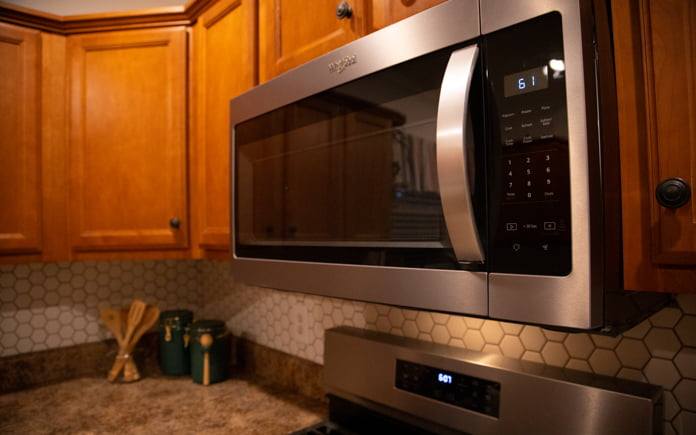 Over the range microwave in kitchen